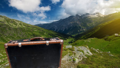 Case in front of Mountain Landscape